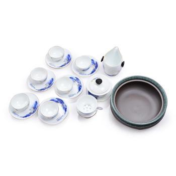 欧圣美 精品手绘青花瓷茶具整套功夫茶泡茶杯茶杯茶具礼盒装16件套 M-6932