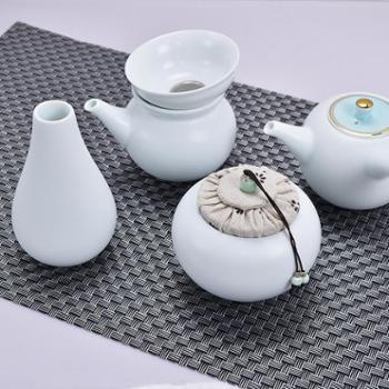 欧圣美 月牙白色釉茶具套装功夫茶泡茶具 陶瓷茶壶茶杯礼盒套装20件套 M-6931
