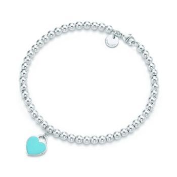 蒂芙尼(Tiffany & Co.)女款镶蒂芙尼蓝珐琅心形手链 GRP03577 蓝色 6.5IN