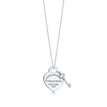 蒂芙尼(Tiffany & Co.)女款心形钥匙吊坠项链 GRP06364 16IN