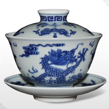 瓷器杯子套装手绘青花仿古景德镇陶瓷餐具茶具瓷器餐具套装三才杯