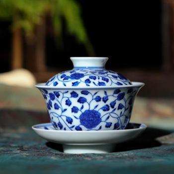 淘瓷缘景德镇瓷器茶器盖碗手工陶瓷茶具三才杯手绘青花瓷茶碗盖杯茶杯