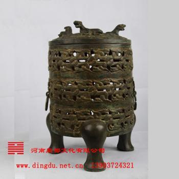 河南鼎都 安阳殷墟青铜器仿制基地 青铜器--卧虎熏炉