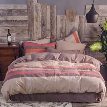 纯棉床上用品四件套愫棉床单被罩套件1.8米床2米床全棉四件套