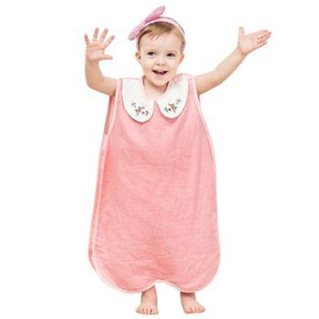 龙之涵水洗纱布背心睡袋无袖分腿儿童睡袋绣花背心睡袋