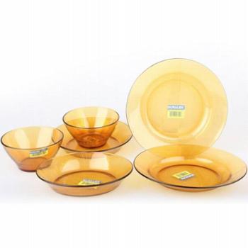 美国康宁晶彩透明钢化玻璃餐具6件组 餐盘 儿童餐碗