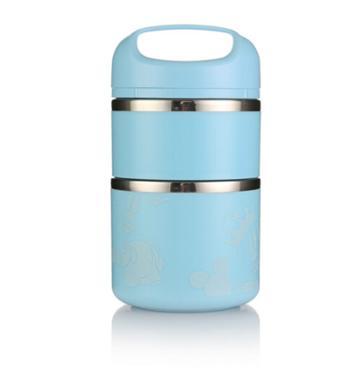 迪士尼新款 奇幻星云三层保温饭盒便当盒手提餐桶 双层蓝色