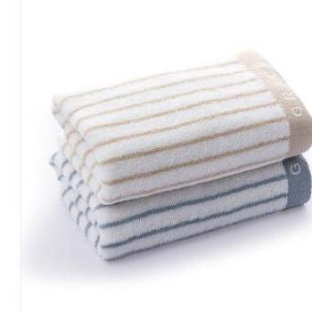 洁丽雅(Grace)毛巾家纺 经典条纹系列纯棉强吸水毛巾二条装兰1棕1 72*34cm 95g/条