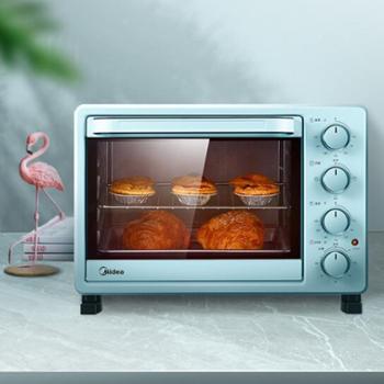 美的(Midea)PT2531 家用多功能电烤箱 25升 适用2~3人 机械式操控