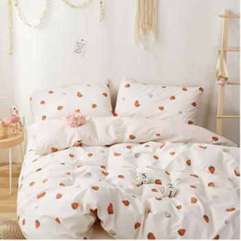 南极人 套件家纺 纯棉四件套 全棉床上用品床单被套 草莓 1.5米/1.8米床 200*230cm