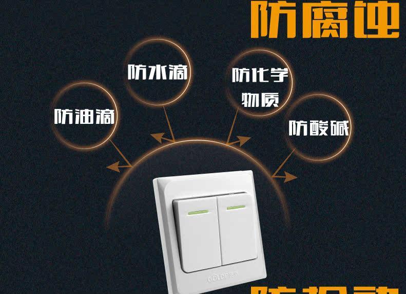 贵派双开单控荧光开关炫雅x5墙壁开关插座86型10a