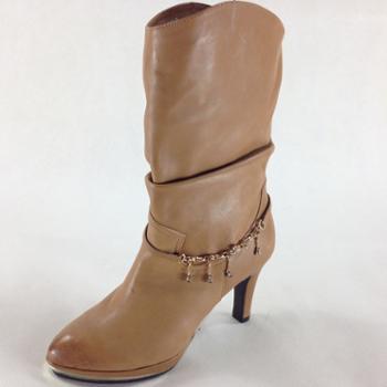 Tata/他她棕色油蜡羊皮女皮靴