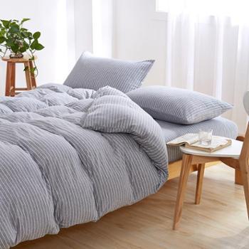 洁帛 针织纯棉被套灰条纹150*200CM 适合150*200被芯