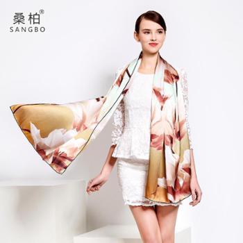 桑柏丝绸真丝丝巾长款重磅桑蚕丝围巾女披肩围巾两用香水百合·咖
