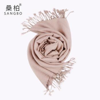 桑柏 纯色围巾女加厚保暖长款流苏披肩 卡其色