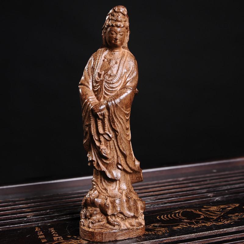 天然越南芽庄沉香木雕水浪观音摆件