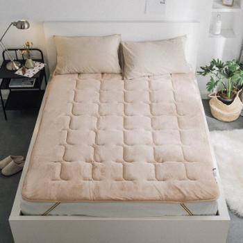 莱薇舒适纯色法兰绒床垫1.8米床(驼色灰色)