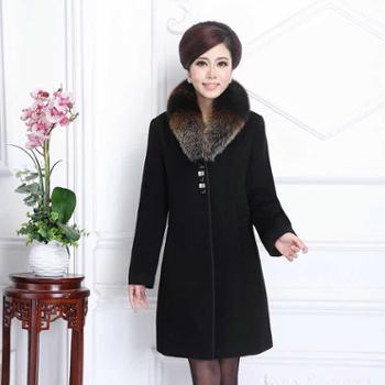 凡思2014高端奢华狐狸毛领冬季羊绒大衣时尚高贵妈妈装