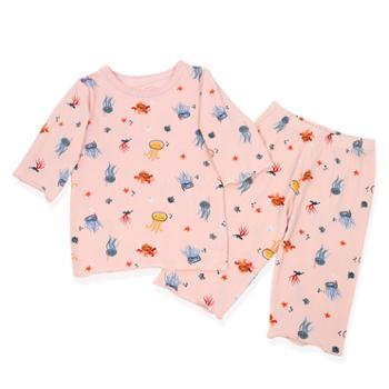 友丫儿童睡衣夏季薄款纯棉中小童卡通家居服套装CLX01