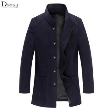 dngr2015春装男士中长款立领单排扣修身羊绒大衣英伦羊毛呢子大衣春秋外套男