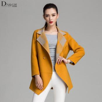 【dngr品牌团】2015秋冬新款欧美风修身中长款双面羊绒大衣C16031