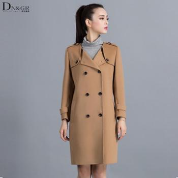 dngr2015秋冬新款欧美修身中长款双面羊绒大衣C16001