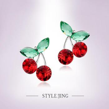 静风格樱桃帮水晶环甜美可爱公主风韩国进口日系