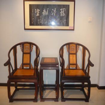 木头记 红木家具 黑酸枝嵌黄金檀皇宫椅三件套
