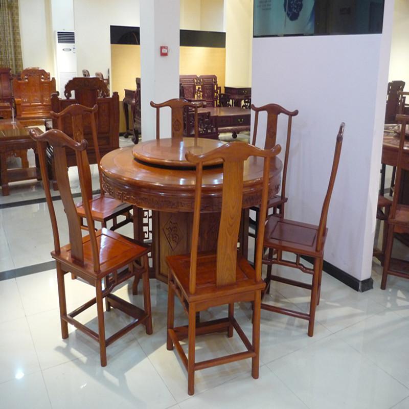 木头记 红木家具 缅甸花梨明式圆餐桌七件套