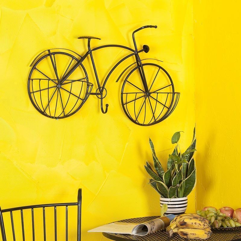 欧式多层铁艺花架墙壁挂饰室内自行车创意两蓝