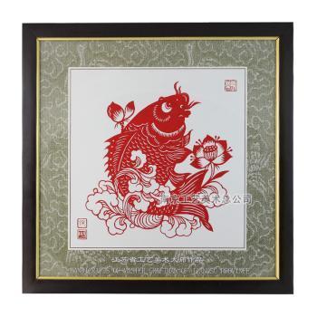 张方林大师剪纸 (莲鱼32)