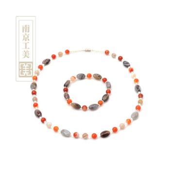 【工美】雨花石手链项链套盒(细链) 南京特有 玛瑙石 文石 观赏石 幸运石 中国风