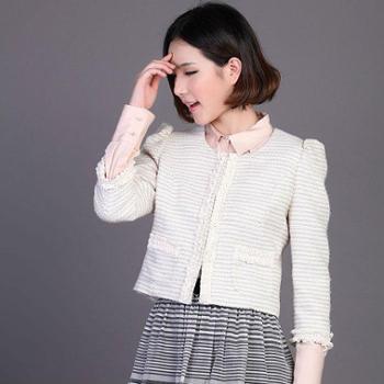 第一才女品牌新款赫本韩版修身花边小香风气质短外套