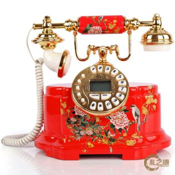 礼之源喜上眉梢仿古电话机 实木雕花结婚礼品 中式家居装饰品电话