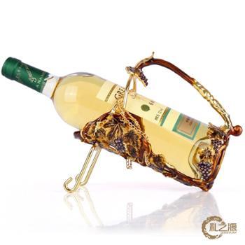 礼之源金色收获酒架 珐琅彩金属欧式风情酒架 酒柜装饰品乔迁礼物
