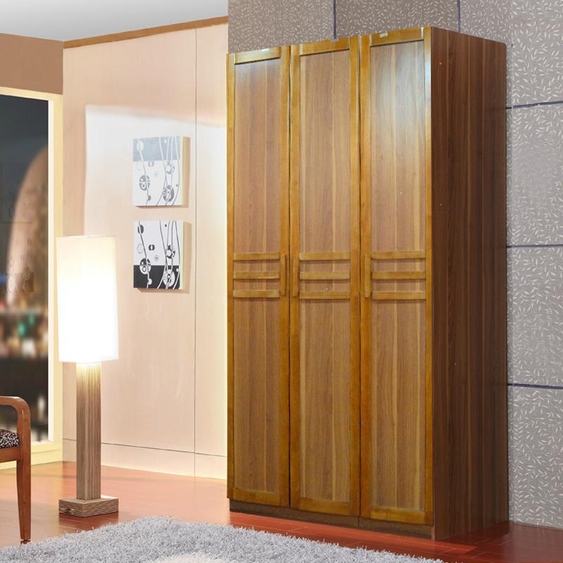 现代中式简约宜家三门衣柜卧室组装大衣柜实木