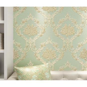 德尔菲诺墙纸无纺布欧式壁纸3D雕刻客厅卧室电视背景墙花开半夏规格0.53M*10M