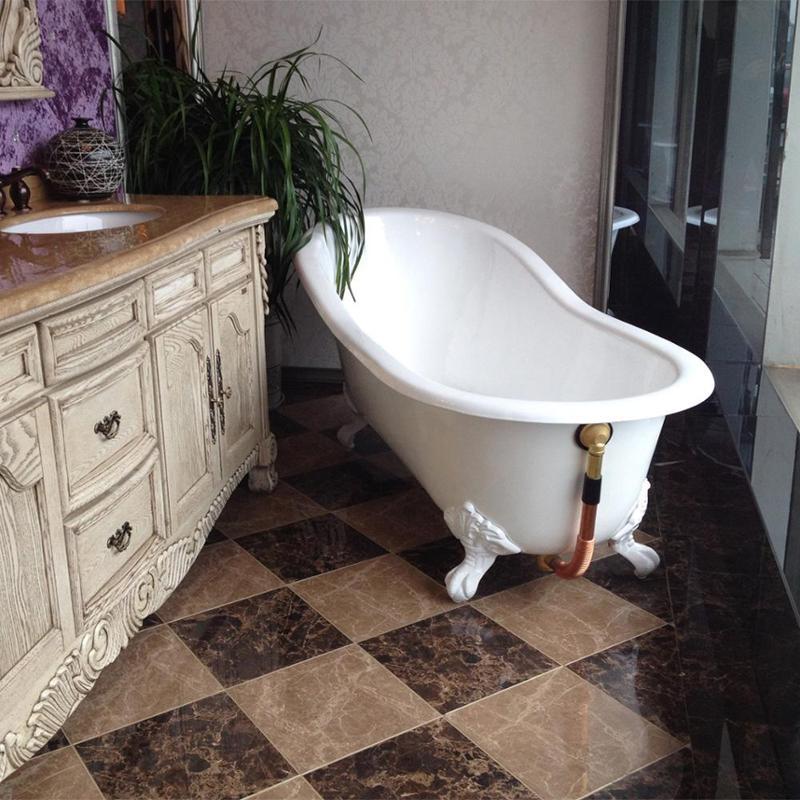 进口釉欧式铸铁浴缸1.7米独立式皇家搪瓷贵妃浴缸