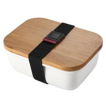日式竹木盖陶瓷保鲜碗微波炉便当饭盒带拉带