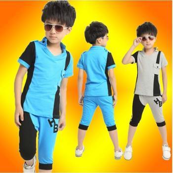 新款男中大童运动套装儿童韩版短袖纯棉休闲套装
