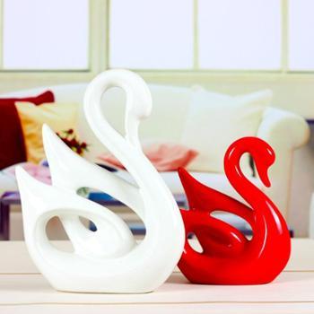 sz-039欢畅景德镇陶瓷情侣天鹅创意家居摆件现代时尚花瓶现代简约