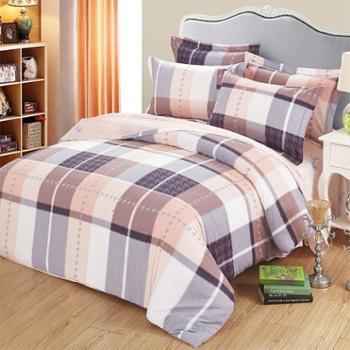 床上用品四件套纯棉全棉1.8m床双人床单式加厚秋冬磨毛纯棉四件套布洛格系列1.8-2米床