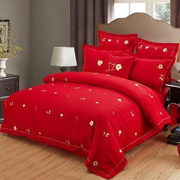 520婚庆五件套大红全棉刺绣1.8米床单式被套结婚床上用品秋冬