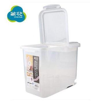 茶花2311米桶带底滑轮密封储米箱、面粉桶12kg