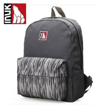 INUK 加拿大 时尚旅行印花条纹双肩包男女学生背书包新品 砂石灰 IKB60314107042