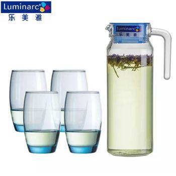 乐美雅 鹿特丹壶凝彩水具5件套 鹿特丹壶1.1L*1 萨通杯350ml *4 H9102