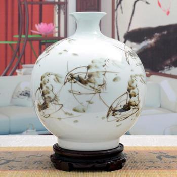 傲世瓷业景德镇陶瓷器古典粉彩瓷墨彩手绘花瓶工艺品摆件装饰品两款可选H030