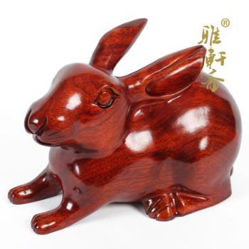 红木工艺品木兔子摆件生肖木雕摆件木雕兔子黑檀木风水包邮