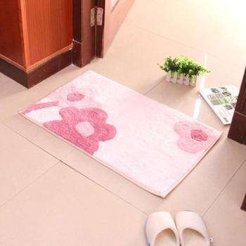 动动手 纺织地垫 门垫入户脚垫吸水防滑垫子防尘地毯 粉色款