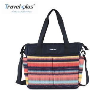 Travelplus旅行家单肩包手提条纹印花妈妈包母婴包时尚外出斜挎轻便大容量TP750139